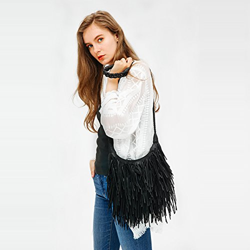 Fringed Leather Bag WALLYN'S Hobo Purse Womens Shoulder Black Body Cross Messenger Handbag Bag Faux Tassel TYdqUx