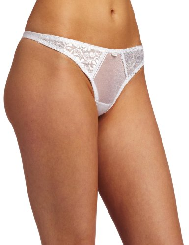 Carnival Womens Tuxedo Style Thong Panty, White, Small