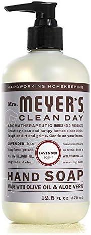 Mrs. Meyer's Clean Day Jabón Líquido para Manos, Sin Parabenos, Formulado con Aceites Esenciales, Lavanda,