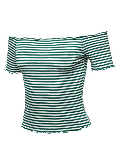 Ribbed Kelly Green (Casual Stripes Lettuce Hem Ribbed Off-Shoulder Crop Top Kelly Green Size S)