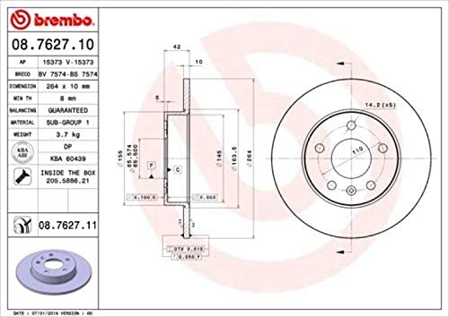 BREMBO BREMSBEL/ÄGE BREMSBELAGSATZ KL/ÖTZE HINTEN BREMSEN SET HINTERACHSE ORIGINAL BREMBO /Ø264mm BREMSSCHEIBEN