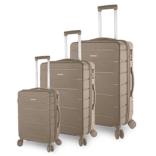 TravelCross Vermont Luggage 3 Piece Ultra-Resistant Lightweight Spinner Set (Mocha) by Travelcross