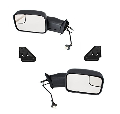 Aftermarket Auto Parts Full Size Pickup Truck Power Folding Heated Tow Rear View Mirror Pair Set for 1998-2001 Dodge Ram 1500 & 1998-2002 Ram 2500, 3500, Black - Auto Aftermarket Parts