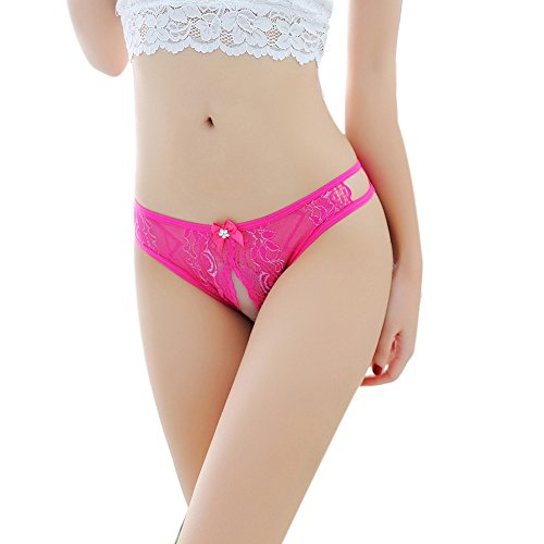 Gallity Women's Sexy Thongs G Strings Panties Underwear Lace Erotic Transparent Panties (Free Size, Hot Pink)