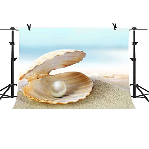 MME Photography Backdrop 10x7ft Summer Beach Background Shell Pearls for Vacation Photography Upgrade Material Seamless Vinyl Photo Studio Props LXME681 ()