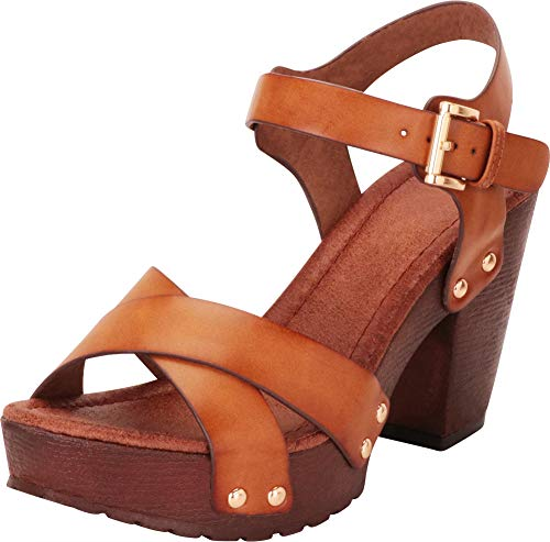 Cambridge Select Women's Retro 70s Studded Clog Crisscross Strappy Chunky Platform Block Heel Sandal,9 B(M) US,Tan PU (Best Womens Shoes For Traveling In Europe)