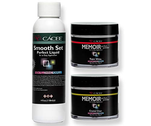 Smooth Set Acrylic Nail Kit, Includes Acrylic Liquid And Powder, Professional Monomer and Polymer, No MMA, Low Odor (Clear & White)