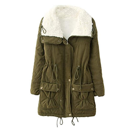 Zip Warm Jackets Pocket Cotton para Bequem Ladies Workers Zhuhaitf Green Outdoor Army Mujer Coats Winter Thicken qFWp5awX