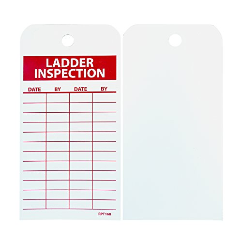"NMC RPT168 Accident Prevention Tag, ""LADDER INSPECTION"", 3"" Width x 6"" Height, Unrippable Vinyl, Red on White (Pack of 25)"