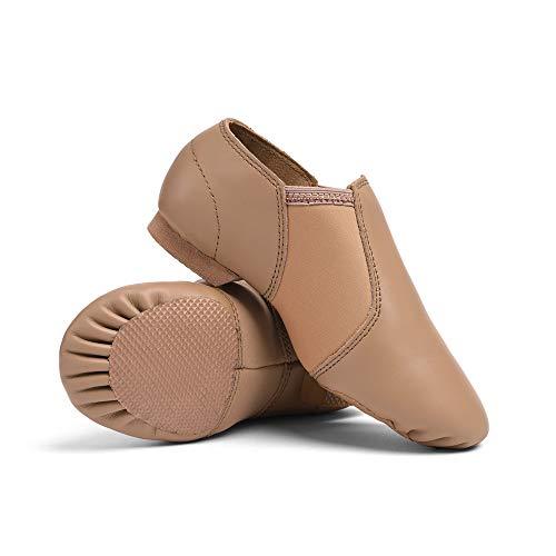 STELLE Leather Jazz Slip-On Dance Shoes for Women Men (Tan, 8MW)