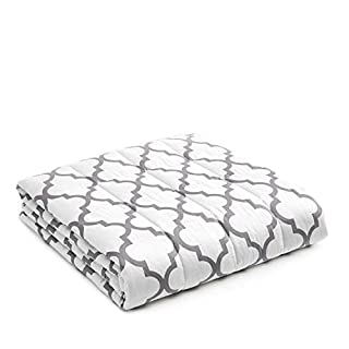 YnM Weighted Blanket — Heavy 100% Oeko-Tex Certified Cotton Material with Premium Glass Beads (Lattice Scroll, 80''x87'' 20lbs), Two Persons(90~160lb) Sharing Use on Queen/King Bed | A Duvet Included