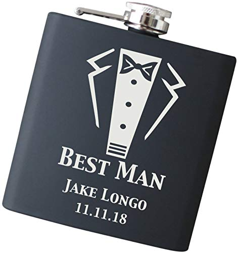 Custom Wedding Flask Engraved, Will You Be My Best Man? Hip Flask in Your Choice of Colors - F50-C -