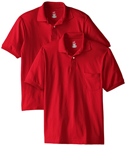 Hanes Men's Short Sleeve Jersey Pocket Polo, Deep Red, Medium (Pack of 2) ()