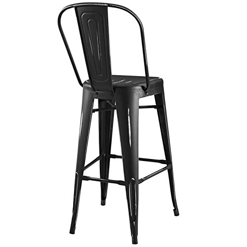 Modway Promenade Industrial Modern Aluminum Bistro Bar Stool in Black by Modway