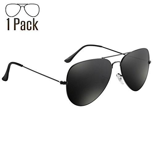 Livhò Aviator Sunglasses Polarized for Men Women Metal Frame UV 400 Protection Outdoor Black Grey