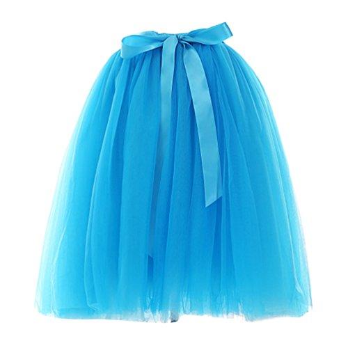 Cortas Tul De Con Lazo Rockabilly Azul Linnuo Mujer Acampanada Para Falda Plisadas Vintage xAHEEqwXC