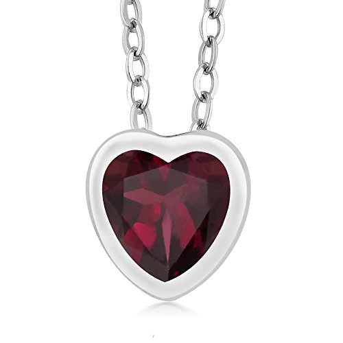 Gem Stone King 0.72 Ct Heart Shape Red Rhodolite Garnet 925 Sterling Silver Pendant With Chain