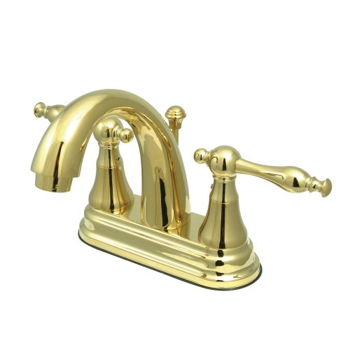 Kingston Brass KS7612NL Normandy 4-Inch High Rise Centerset Lavatory Faucet, Polished Brass