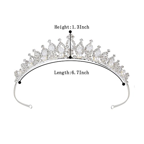 BriLove Women's Crystal Victorian Style Simulated Pearl Bling Wedding Bridal Crown Hair Tiara Silver-Tone by BriLove (Image #4)