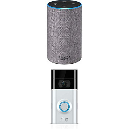 Echo (2nd Generation) – Heather Gray Fabric with Ring Video Doorbell 2