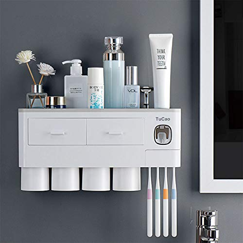 TuCao Toothbrush Holder Wall Mounted with Automatic Toothpaste Dispenser Squeezer Kit, 7 Toothbrush Slot with Cover, 4 Magnetic Cups and Cosmetic Organizer Drawer(4 Cups)