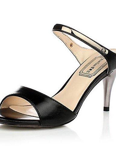 GGX/ Damenschuhe-High Heels-Lässig-PU-Blockabsatz-Absätze-Schwarz / Weiß / Mandelfarben black-us8 / eu39 / uk6 / cn39