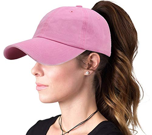 Ponytail Baseball Hat Distressed Retro Washed Cotton Twill (Rose) ...