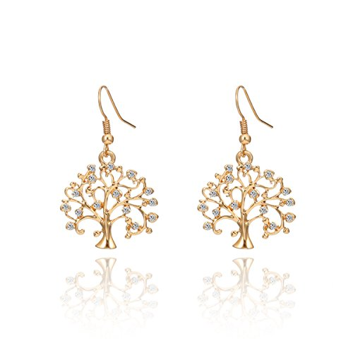 Plated Gold Earrings Lucky (Dangle Earring for Women Lucky Celtic Tree of Life Drop Earring Novelty Shining Rhinestone Earring Hoop Earring with CZ Crystal (Gold Plated))