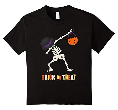 [Kids Cute Boys Halloween Dabbing Skeleton Shirt 10 Black] (Cute Halloween Shirts For Kids)