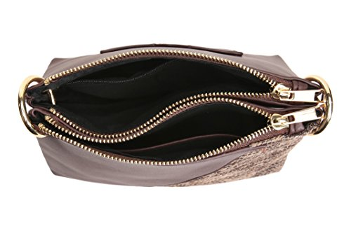 Shoulder Compartments Adjustable Deep 2 Crossbody Bags Double Messenger Mahogany Handbag Purse Strap for Zip Aitbags Women with nBqO8w7q0