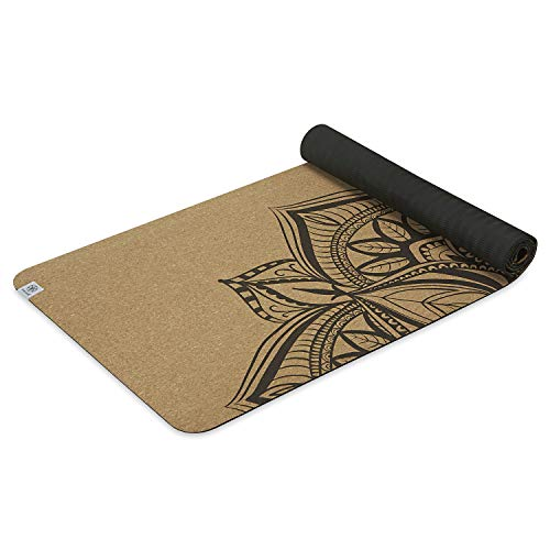 Gaiam Cork Yoga Mat   Print Design Natural Sustainable Cork Resists Germs and Odor   Non-Toxic TPE Rubber Backing…