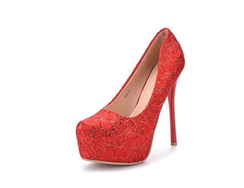 Mila Lady (FAY) Embroidered Lace Elegance Sky-high Sparkles Platform Lady Heels (Red Platforms Heels)