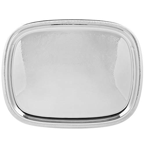 TableTop King 82121 Elegant Reflections Stainless Steel Oblong Serving Tray - 24