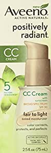 Aveeno Positively Radiant CC Cream SPF 30, Fair to Light Tinted Moisturizer, 2.5 Ounce Pack of 2