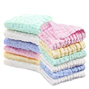 Baby Ultra Soft Muslin Washcloths Perfect Baby Gifts 12 Pack by BlueSnail (Washcloths)