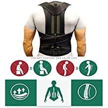 Comfort Posture Corrector and Back Support Brace, Back Pain Relief for Men and Women Black (M)