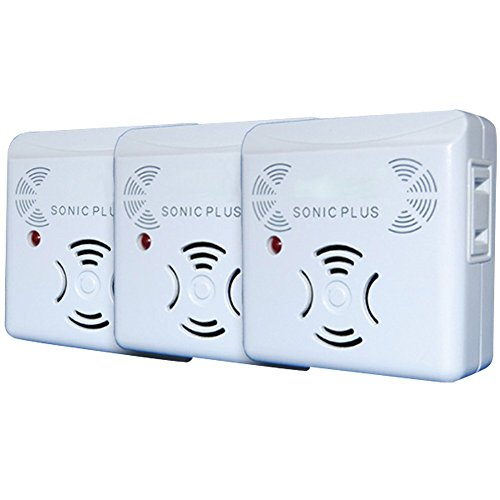 Riddex Sonic Plus Pest Repeller for Rodents and Insects, 3-Pack Indoor Repellent with side outlet, Get Rid of Roaches & Rodents Chemical ()