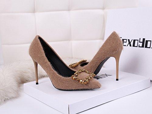 Cuadrada de ZXMXY Zapatos de Marrón con tacón Sandalias Alto Mujer Punta 7U4qZC