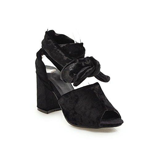 avec Sandales Pieds Haut Chaussures Femmes Poisson Sangles de Black Bouche Grande de Talon épais Romain Taille UXpx1vdqwx