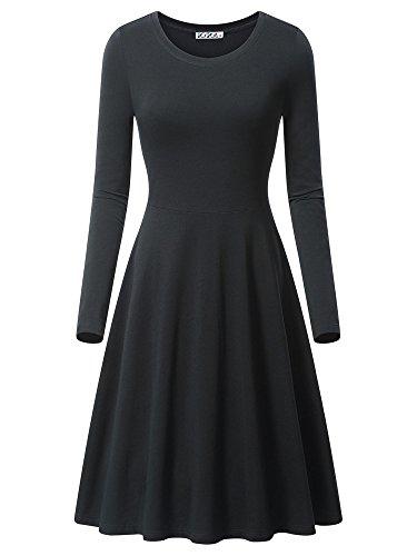 KIRA Fall Dress, Women's Long Sleeve Round Neckline Simple Design Midi Dress 17033-1 X-Large