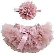 18 Colors Tutu Diaper Cover 0-24 Months Newborn and Baby Girl TUTU Bloomers & Headband Set (Dusty Rose, Ne