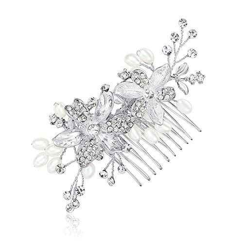 (mecresh Handmade Wedding Hair Comb Flowers Branch Simulated Pearl Bridal Hair Accessories)