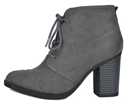 TOETOS Damen Chicago Chunky Heel Ankle Booties Graues Wildleder-5
