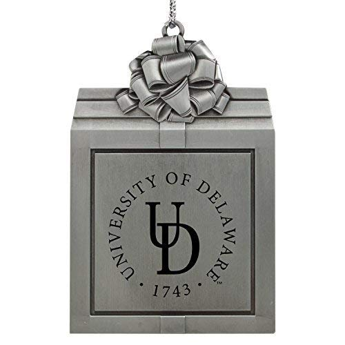 LXG, Inc. University of Delaware -Pewter Christmas Holiday Present Ornament-Silver
