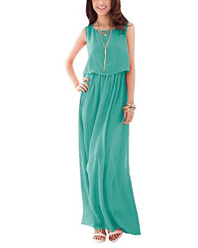 Maxi Vestido Largo Mujer Elegante Vestidos de Cóctel Sin Mangas Vestido de Noche Vestido de la Playa Ligero Verde
