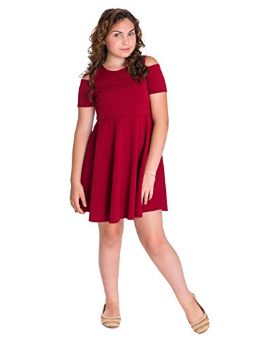 e762ea878e8 Smile You Are Beautiful Girls Plus Size Cold Sholder Textured Skater Dress  With Necklace – as low as  4.98