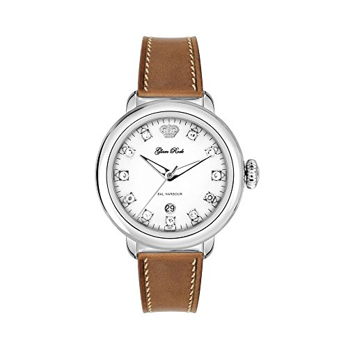Glam Rock Women's GR77016 Bal Harbour Stainless Steel Diamond-Accented Watch with Brown Leather Band