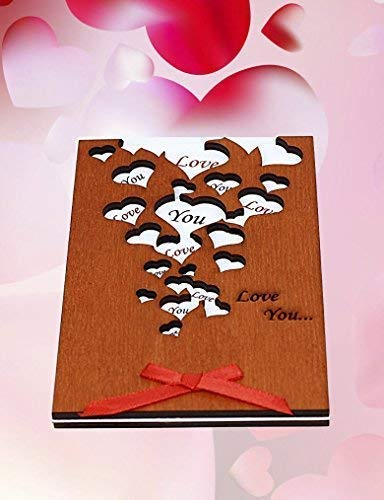 Handmade Love You Many Hearts Real Wood Greeting Card Best Happy Birthday Gift For Friend Mom Dad Or Sentimental Valentines Day Valentine 5 Th Wedding