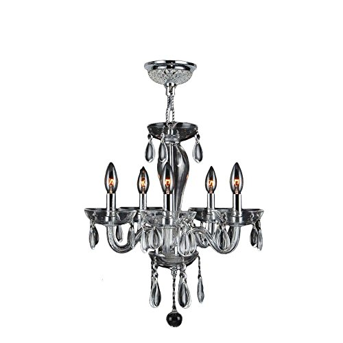Worldwide Lighting W83127C16-CL Gatsby - Five Light Mini Chandelier, Polished Chrome Finish with Clear Glass with Clear Crystal