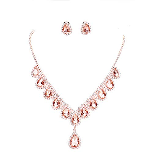 - Affordable Wedding Jewelry Peach Crystal Set Rose Gold Necklace Earring Bridal Formal Women Costume Jewelry